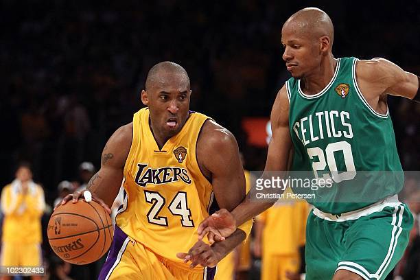 Kobe Bryant of the Los Angeles Lakers moves the ball in Game Seven of the 2010 NBA Finals against the Boston Celtics at Staples Center on June 17...