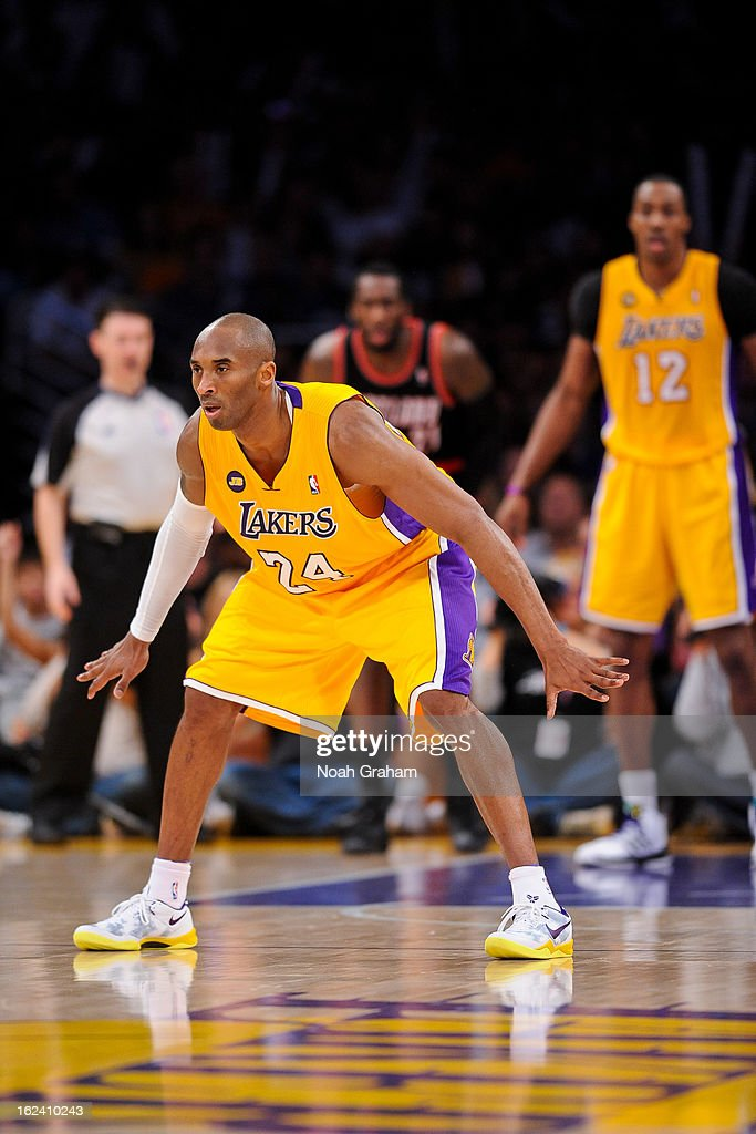 <a gi-track='captionPersonalityLinkClicked' href=/galleries/search?phrase=Kobe+Bryant&family=editorial&specificpeople=201466 ng-click='$event.stopPropagation()'>Kobe Bryant</a> #24 of the Los Angeles Lakers plays defense against the Portland Trail Blazers at Staples Center on February 22, 2013 in Los Angeles, California.
