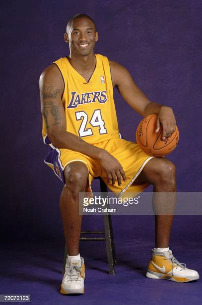 Kobe Bryant of the Los Angeles Lakers poses for pictures at the 2006 NBA Media Day on October 2 2006 at the Toyota Training Center in El Segundo CA...