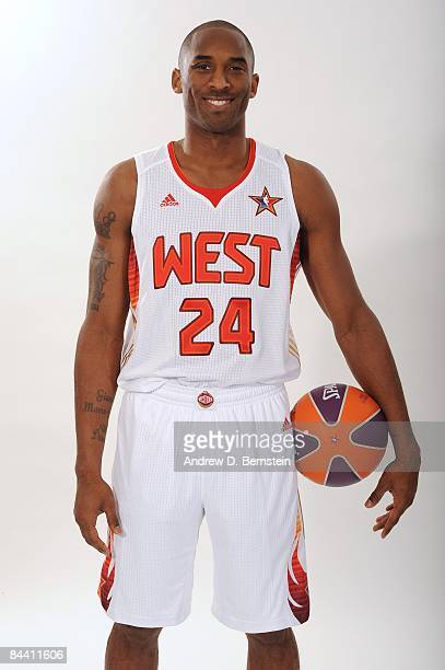 Kobe Bryant of the Los Angeles Lakers poses in his 2009 All Star Uniform at the Staples Center on January 21 2009 in Los Angeles California NOTE TO...