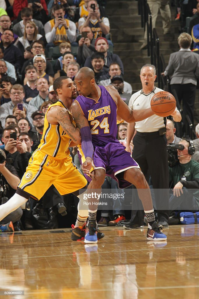 <a gi-track='captionPersonalityLinkClicked' href=/galleries/search?phrase=Kobe+Bryant&family=editorial&specificpeople=201466 ng-click='$event.stopPropagation()'>Kobe Bryant</a> #24 of the Los Angeles Lakers posts up against <a gi-track='captionPersonalityLinkClicked' href=/galleries/search?phrase=George+Hill+-+Basketball+Player&family=editorial&specificpeople=6831399 ng-click='$event.stopPropagation()'>George Hill</a> #3 of the Indiana Pacers on February 8, 2016 at Bankers Life Fieldhouse in Indianapolis, Indiana.