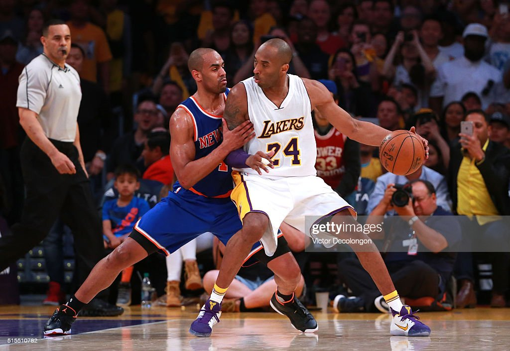 <a gi-track='captionPersonalityLinkClicked' href=/galleries/search?phrase=Kobe+Bryant&family=editorial&specificpeople=201466 ng-click='$event.stopPropagation()'>Kobe Bryant</a> #24 of the Los Angeles Lakers posts up <a gi-track='captionPersonalityLinkClicked' href=/galleries/search?phrase=Arron+Afflalo&family=editorial&specificpeople=640861 ng-click='$event.stopPropagation()'>Arron Afflalo</a> #4 of the New York Knicks during the second half of their NBA game at Staples Center on March 13, 2016 in Los Angeles, California. The Knicks defeated the Lakers 90-87.