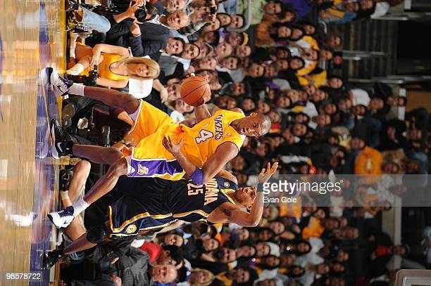Kobe Bryant of the Los Angeles Lakers posts up Brandon Rush of the Indiana Pacers during the game on March 2 2010 at Staples Center in Los Angeles...