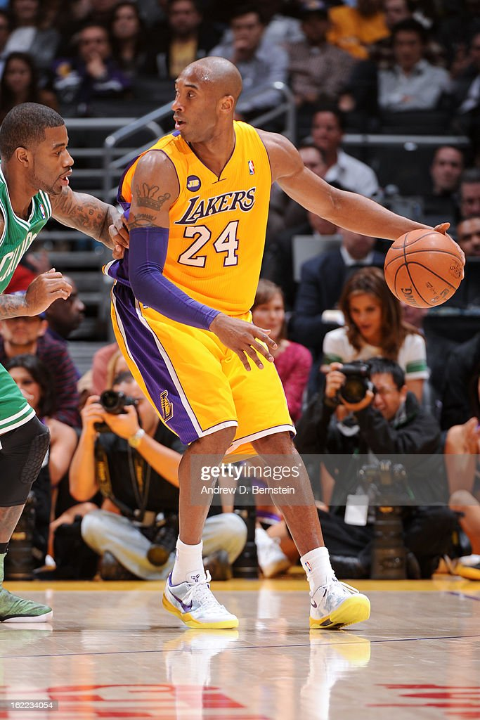<a gi-track='captionPersonalityLinkClicked' href=/galleries/search?phrase=Kobe+Bryant&family=editorial&specificpeople=201466 ng-click='$event.stopPropagation()'>Kobe Bryant</a> #24 of the Los Angeles Lakers posts-up against the Boston Celtics at Staples Center on February 20, 2013 in Los Angeles, California.