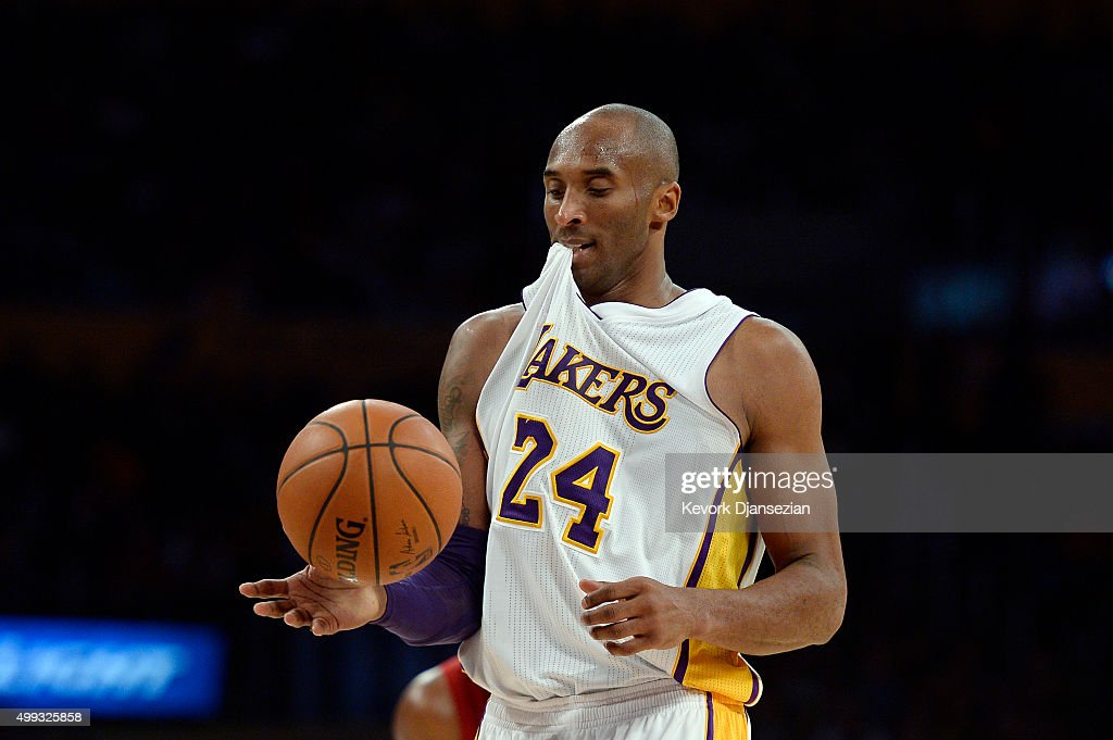Kobe Bryant #24 of the Los Angeles Lakers prepares to shoot a foul shot during the second half of the basketball game against Indiana Pacers at Staples Center November 29, 2015, in Los Angeles, California.