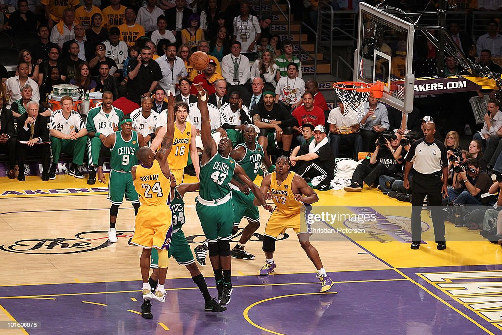 Kobe Bryant #24 of the Los Angeles Lakers puts a shot up over Kendrick Perkins #43 of the Boston Celtics in Game One of the 2010 NBA Finals at Staples Center on June 3, 2010 in Los Angeles, California.