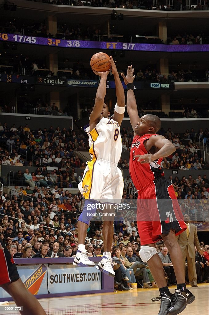 <a gi-track='captionPersonalityLinkClicked' href=/galleries/search?phrase=Kobe+Bryant&family=editorial&specificpeople=201466 ng-click='$event.stopPropagation()'>Kobe Bryant</a> #8 of the Los Angeles Lakers puts up a shot against the Toronto Raptors on January 22, 2006 at Staples Center in Los Angeles, California. Bryant scored 81 points in the Lakers 122-104 win over the Raptors.