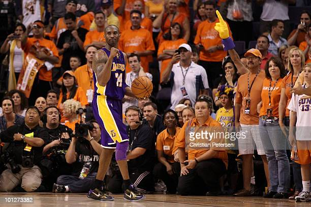 Kobe Bryant of the Los Angeles Lakers reacts after a play in the fourth quarter of Game Six of the Western Conference Finals against the Phoenix Suns...