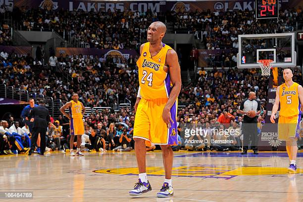 Kobe Bryant of the Los Angeles Lakers reacts after getting injured during a game against the Golden State Warriors at Staples Center on April 12 2013...