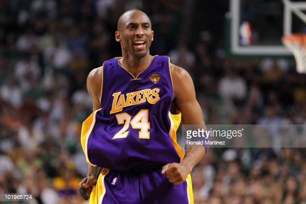 Kobe Bryant of the Los Angeles Lakers reacts against the Boston Celltics during Game Four of the 2010 NBA Finals on June 10 2010 at TD Garden in...