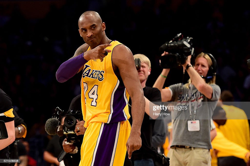 <a gi-track='captionPersonalityLinkClicked' href=/galleries/search?phrase=Kobe+Bryant&family=editorial&specificpeople=201466 ng-click='$event.stopPropagation()'>Kobe Bryant</a> #24 of the Los Angeles Lakers reacts before taking on the Utah Jazz at Staples Center on April 13, 2016 in Los Angeles, California.