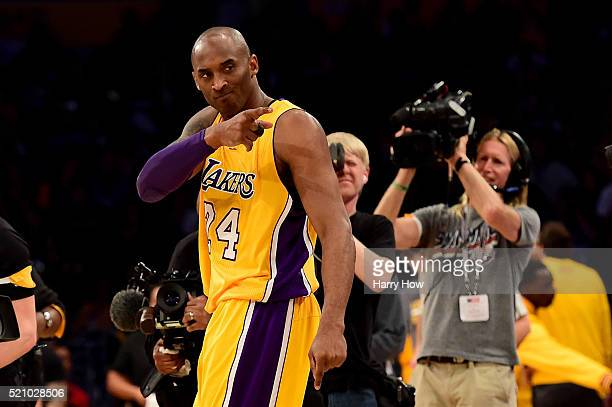 Kobe Bryant of the Los Angeles Lakers reacts before taking on the Utah Jazz at Staples Center on April 13 2016 in Los Angeles California NOTE TO USER...