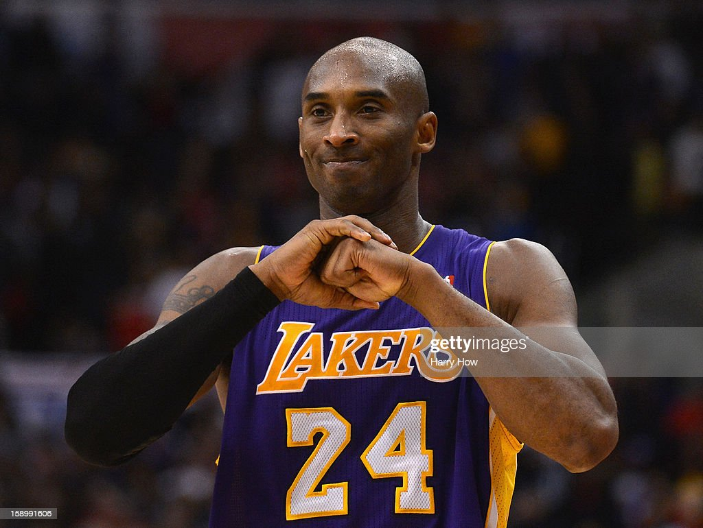 Kobe Bryant #24 of the Los Angeles Lakers reacts during a 107-102 loss to the Los Angeles Clippers at Staples Center on January 4, 2013 in Los Angeles, California.