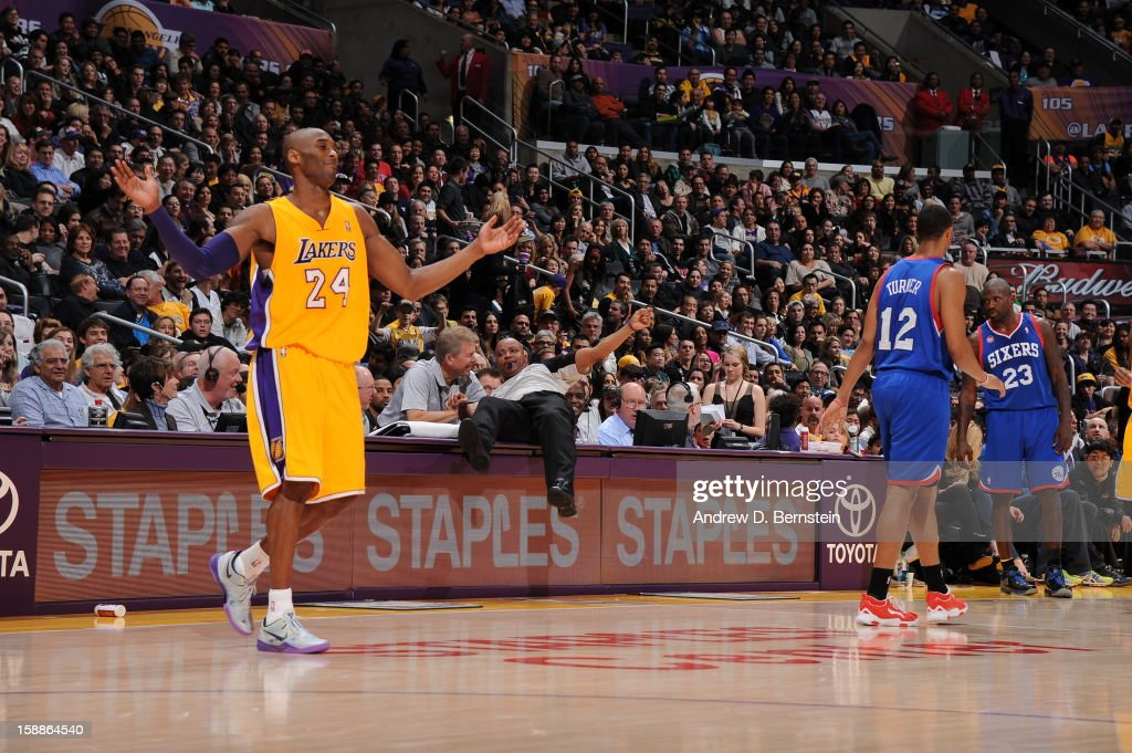 Kobe Bryant #24 of the Los Angeles Lakers reacts in a game against the Philadelphia 76ers at Staples Center on January 1, 2013 in Los Angeles, California.