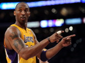 Kobe Bryant of the Los Angeles Lakers reacts in the first quarter while taking on the New Orleans Hornets in Game Two of the Western Conference...