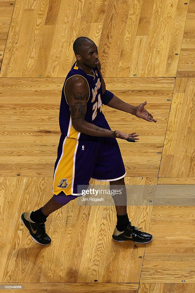 <a gi-track='captionPersonalityLinkClicked' href=/galleries/search?phrase=Kobe+Bryant&family=editorial&specificpeople=201466 ng-click='$event.stopPropagation()'>Kobe Bryant</a> #24 of the Los Angeles Lakers reacts in the second half against the Boston Celtics during Game Five of the 2010 NBA Finals on June 13, 2010 at TD Garden in Boston, Massachusetts.