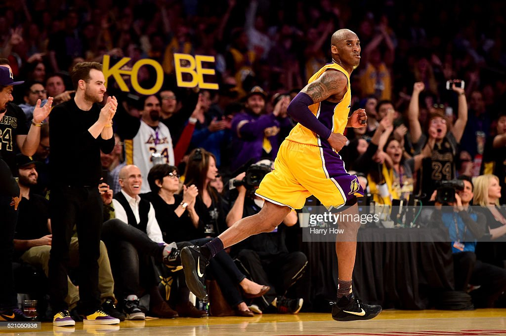 <a gi-track='captionPersonalityLinkClicked' href=/galleries/search?phrase=Kobe+Bryant&family=editorial&specificpeople=201466 ng-click='$event.stopPropagation()'>Kobe Bryant</a> #24 of the Los Angeles Lakers reacts in the third quarter against the Utah Jazz at Staples Center on April 13, 2016 in Los Angeles, California.