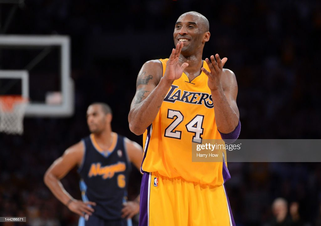 <a gi-track='captionPersonalityLinkClicked' href=/galleries/search?phrase=Kobe+Bryant&family=editorial&specificpeople=201466 ng-click='$event.stopPropagation()'>Kobe Bryant</a> #24 of the Los Angeles Lakers reacts late in the fourth quarter while taking on the Denver Nuggets in Game Seven of the Western Conference Quarterfinals in the 2012 NBA Playoffs on May 12, 2012 at Staples Center in Los Angeles, California.