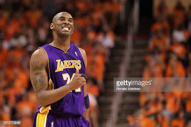 Kobe Bryant of the Los Angeles Lakers reacts to a play in the fourth quarter of Game Six of the Western Conference Finals against the Phoenix Suns...