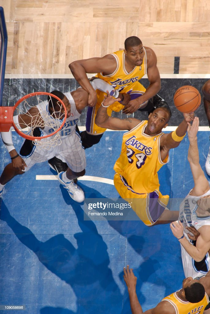 <a gi-track='captionPersonalityLinkClicked' href=/galleries/search?phrase=Kobe+Bryant&family=editorial&specificpeople=201466 ng-click='$event.stopPropagation()'>Kobe Bryant</a> #24 of the Los Angeles Lakers rebounds against <a gi-track='captionPersonalityLinkClicked' href=/galleries/search?phrase=Hedo+Turkoglu&family=editorial&specificpeople=201639 ng-click='$event.stopPropagation()'>Hedo Turkoglu</a> #15 of the Orlando Magic on February 13, 2011 at the Amway Center in Orlando, Florida.