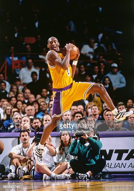 Kobe Bryant of the Los Angeles Lakers rebounds against the Minnesota Timberwolves in his first regular season game on November 3 1996 at The Forum in...
