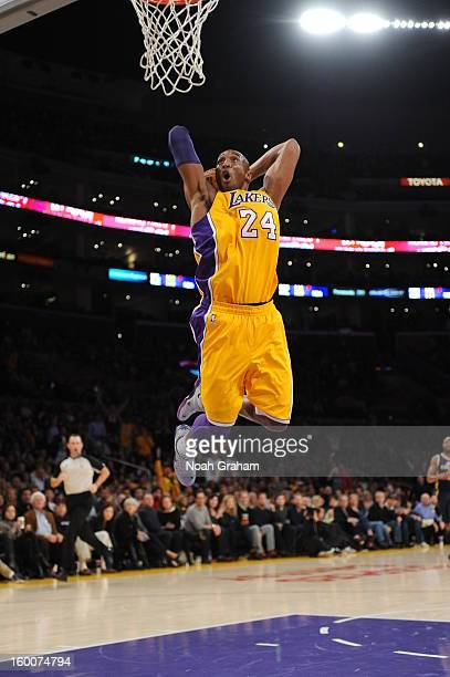 Kobe Bryant of the Los Angeles Lakers rises for a dunk against the Utah Jazz at Staples Center on January 25 2013 in Los Angeles California NOTE TO...