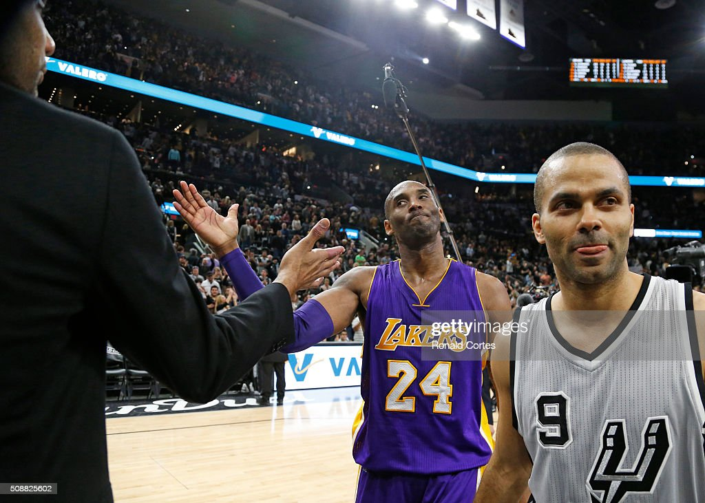 <a gi-track='captionPersonalityLinkClicked' href=/galleries/search?phrase=Kobe+Bryant&family=editorial&specificpeople=201466 ng-click='$event.stopPropagation()'>Kobe Bryant</a> #24 of the Los Angeles Lakers says his goodbye to <a gi-track='captionPersonalityLinkClicked' href=/galleries/search?phrase=Tim+Duncan&family=editorial&specificpeople=201467 ng-click='$event.stopPropagation()'>Tim Duncan</a> #21 of the San Antonio Spurs at the end of the game at AT&T Center on February 6, 2016 in San Antonio, Texas. Tony Parker #9 of the San Antonio Spurs is to the right of the frame.