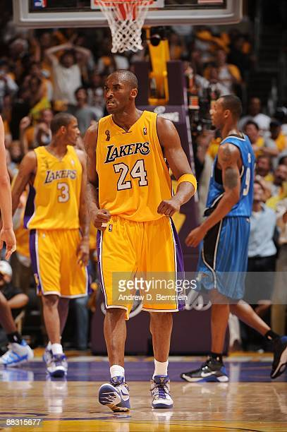 Kobe Bryant of the Los Angeles Lakers scowling against of the Orlando Magic during Game One of the 2009 NBA Finals at the Staples Center on June 4...
