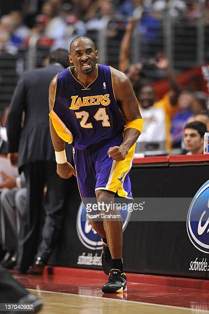 Kobe Bryant of the Los Angeles Lakers scowls after scoring against the Los Angeles Clippers at Staples Center on January 14 2012 in Los Angeles...