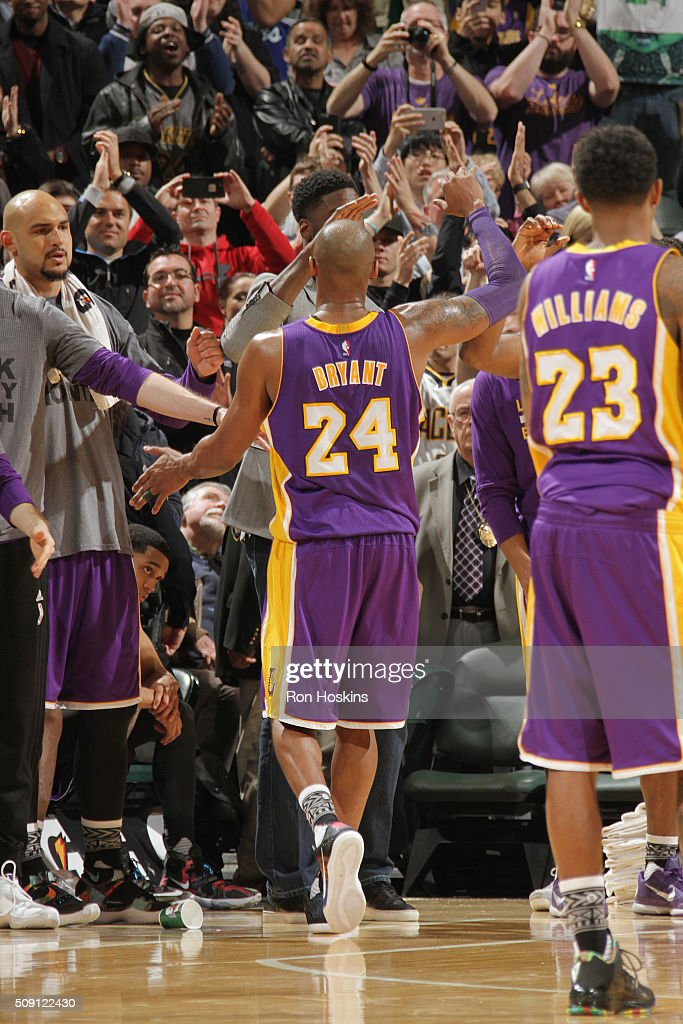 <a gi-track='captionPersonalityLinkClicked' href=/galleries/search?phrase=Kobe+Bryant&family=editorial&specificpeople=201466 ng-click='$event.stopPropagation()'>Kobe Bryant</a> #24 of the Los Angeles Lakers shakes hands with his teammates during the game against the Indiana Pacers on February 8, 2016 at Bankers Life Fieldhouse in Indianapolis, Indiana.