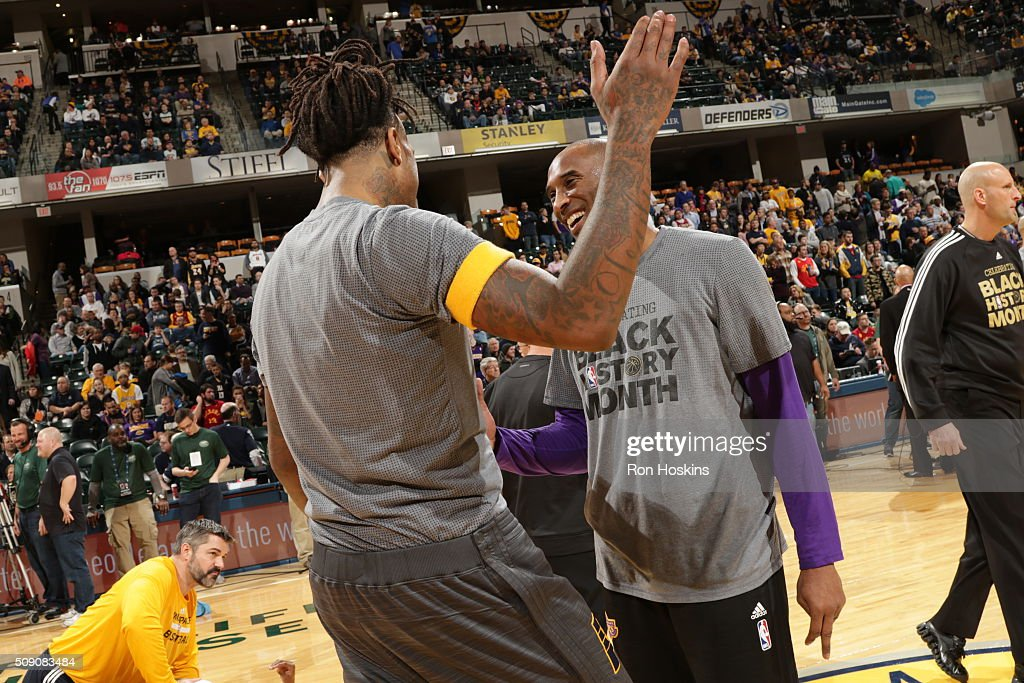 <a gi-track='captionPersonalityLinkClicked' href=/galleries/search?phrase=Kobe+Bryant&family=editorial&specificpeople=201466 ng-click='$event.stopPropagation()'>Kobe Bryant</a> #24 of the Los Angeles Lakers shakes hands with <a gi-track='captionPersonalityLinkClicked' href=/galleries/search?phrase=Jordan+Hill+-+Basketball+Player&family=editorial&specificpeople=13503530 ng-click='$event.stopPropagation()'>Jordan Hill</a> #27 of the Indiana Pacers before the game on February 8, 2016 at Bankers Life Fieldhouse in Indianapolis, Indiana.