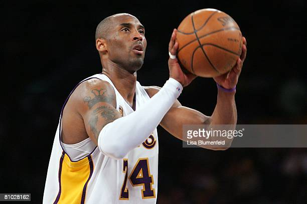Kobe Bryant of the Los Angeles Lakers shoot a free throw against the Utah Jazz in Game One of the Western Conference Semifinals during the 2008 NBA...