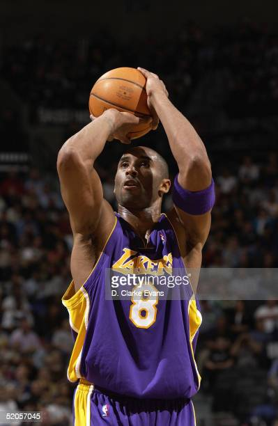 Kobe Bryant of the Los Angeles Lakers shoots a free throw against the San Antonio Spurs on January 4 2005 at the SBC Center in San Antonio Texas The...