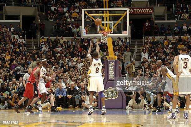 Kobe Bryant of the Los Angeles Lakers shoots a free throw against the Toronto Raptors on January 22 2006 at Staples Center in Los Angeles California...