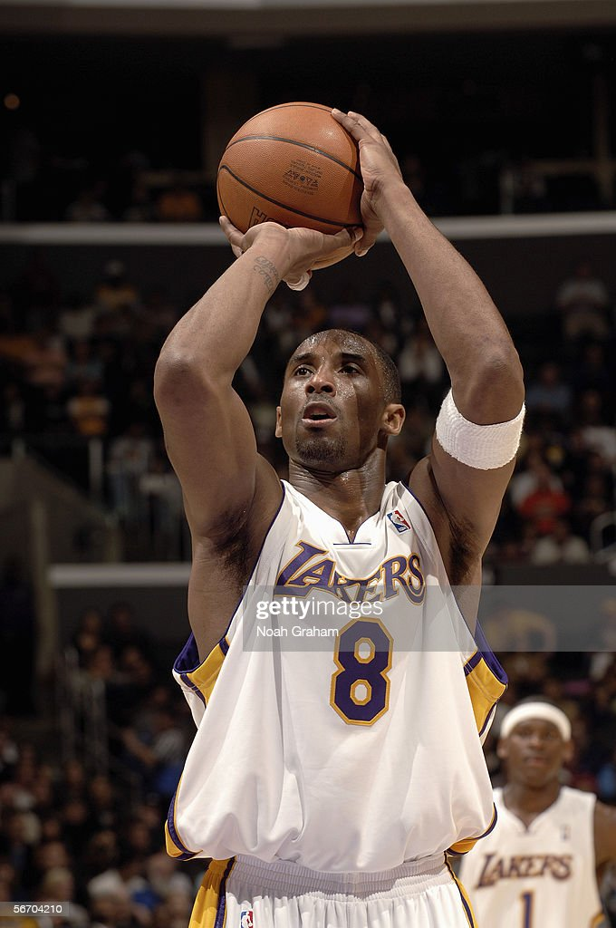 <a gi-track='captionPersonalityLinkClicked' href=/galleries/search?phrase=Kobe+Bryant&family=editorial&specificpeople=201466 ng-click='$event.stopPropagation()'>Kobe Bryant</a> #8 of the Los Angeles Lakers shoots a free throw against the Toronto Raptors on January 22, 2006 at Staples Center in Los Angeles, California. Bryant scored 81 points, the second highest total in NBA history. The Lakers won 122-104.