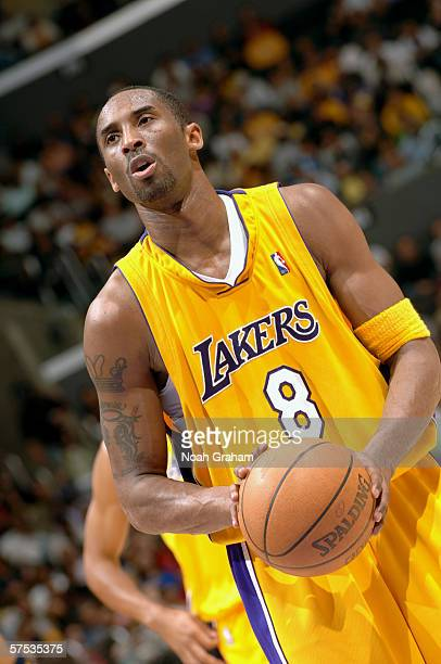 Kobe Bryant of the Los Angeles Lakers shoots a free throw against the Golden State Warriors during the game on April 11 2006 at Staples Center in Los...