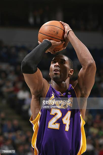 Kobe Bryant of the Los Angeles Lakers shoots a free throw during the game against the Minnesota Timberwolves on December 4 2007 at the Target Center...