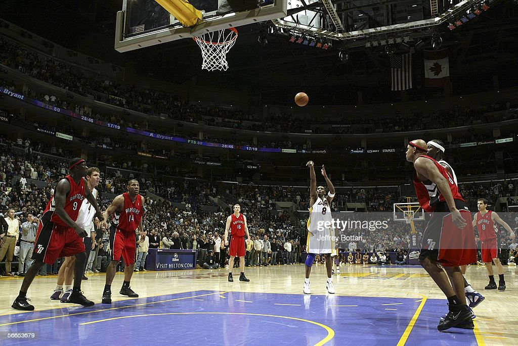 <a gi-track='captionPersonalityLinkClicked' href=/galleries/search?phrase=Kobe+Bryant&family=editorial&specificpeople=201466 ng-click='$event.stopPropagation()'>Kobe Bryant</a> #8 of the Los Angeles Lakers shoots a free throw for his 81st point against the Toronto Raptors on January 22, 2006 at Staples Center in Los Angeles, California.
