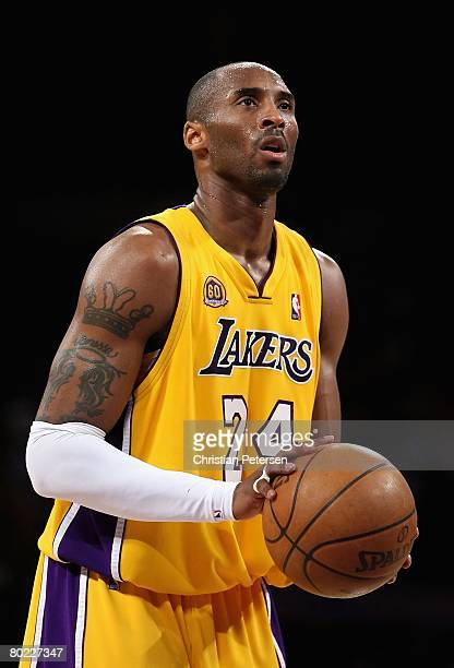Kobe Bryant of the Los Angeles Lakers shoots a free throw shot against the Toronto Raptors during the NBA game at Staples Center on March 11 2008 in...