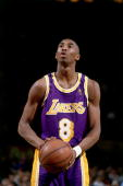Kobe Bryant of the Los Angeles Lakers shoots a freethrow against the New York Knicks during an NBA game on November 5 1997 at Madison Square Garden...