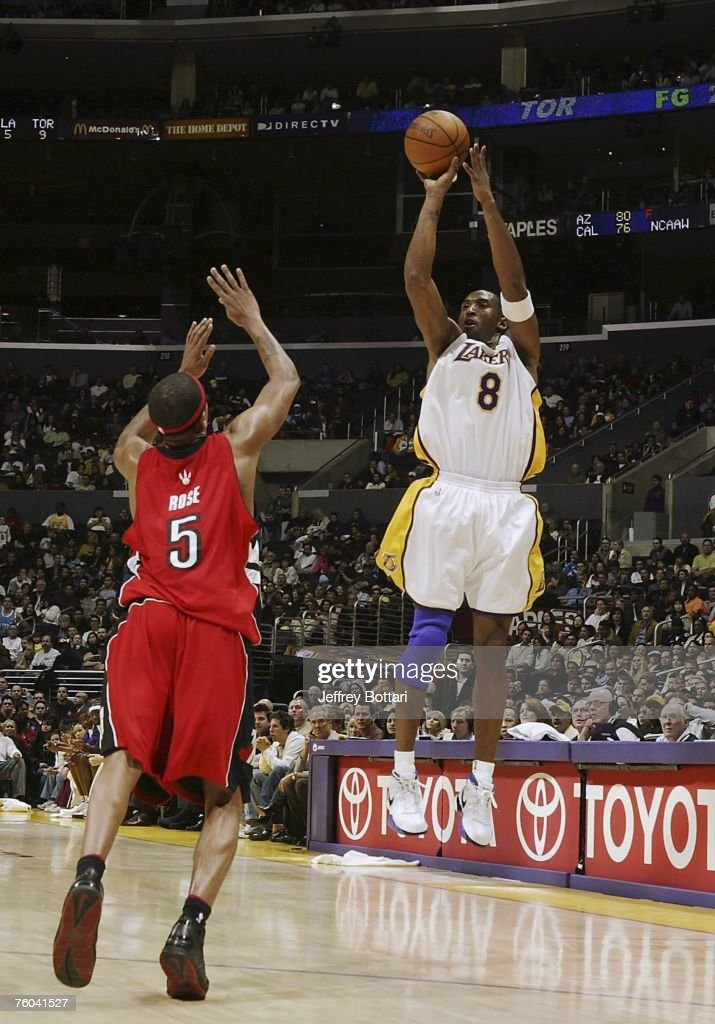 <a gi-track='captionPersonalityLinkClicked' href=/galleries/search?phrase=Kobe+Bryant&family=editorial&specificpeople=201466 ng-click='$event.stopPropagation()'>Kobe Bryant</a> #8 of the Los Angeles Lakers shoots a jump shot over Jalen Rose #5 of the Toronto Raptors during his 81 point explosion on January 22, 2006 at Staples Center in Los Angeles, California.