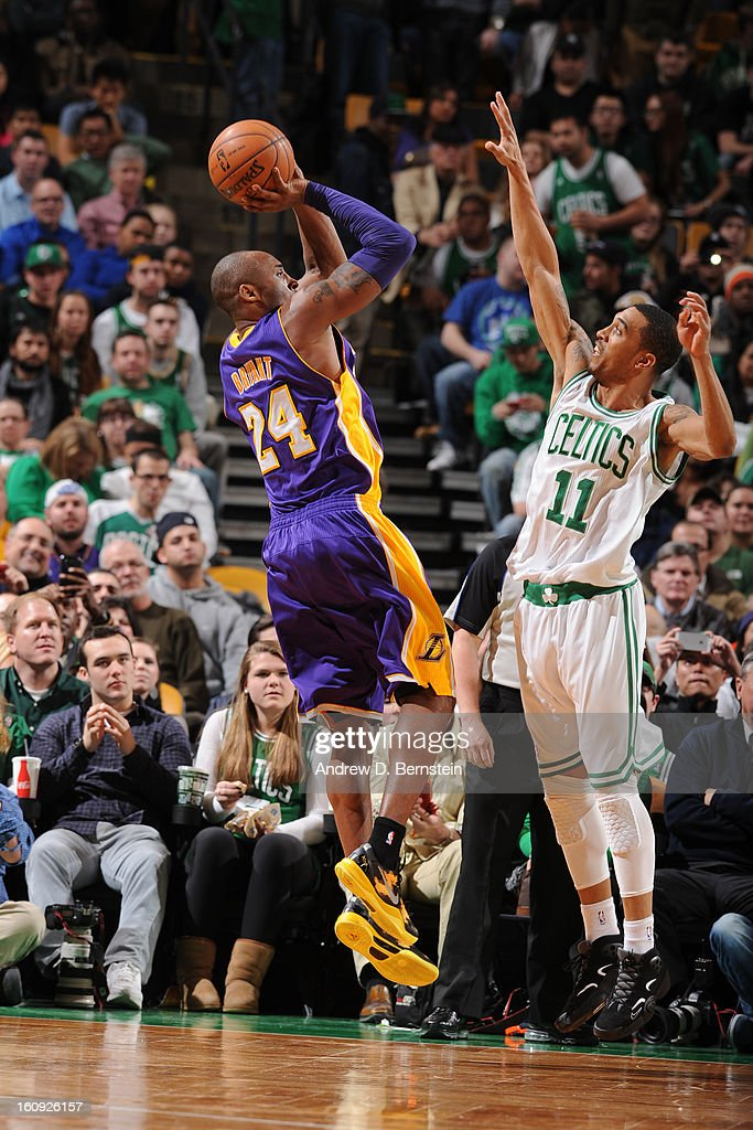 Kobe Bryant #24 of the Los Angeles Lakers shoots a jumper against Courtney Lee #11 of the Boston Celtics on February 7, 2013 at the TD Garden in Boston, Massachusetts.