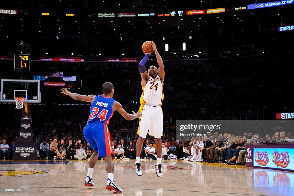 <a gi-track='captionPersonalityLinkClicked' href=/galleries/search?phrase=Kobe+Bryant&family=editorial&specificpeople=201466 ng-click='$event.stopPropagation()'>Kobe Bryant</a> #24 of the Los Angeles Lakers shoots a three-pointer against <a gi-track='captionPersonalityLinkClicked' href=/galleries/search?phrase=Kim+English+-+Basketball+Player&family=editorial&specificpeople=14725989 ng-click='$event.stopPropagation()'>Kim English</a> #24 of the Detroit Pistons at Staples Center on November 4, 2012 in Los Angeles, California.