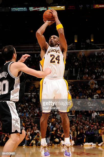 Kobe Bryant of the Los Angeles Lakers shoots against Manu Ginobili of the San Antonio Spurs during their game at Staples Center on January 25 2009 in...
