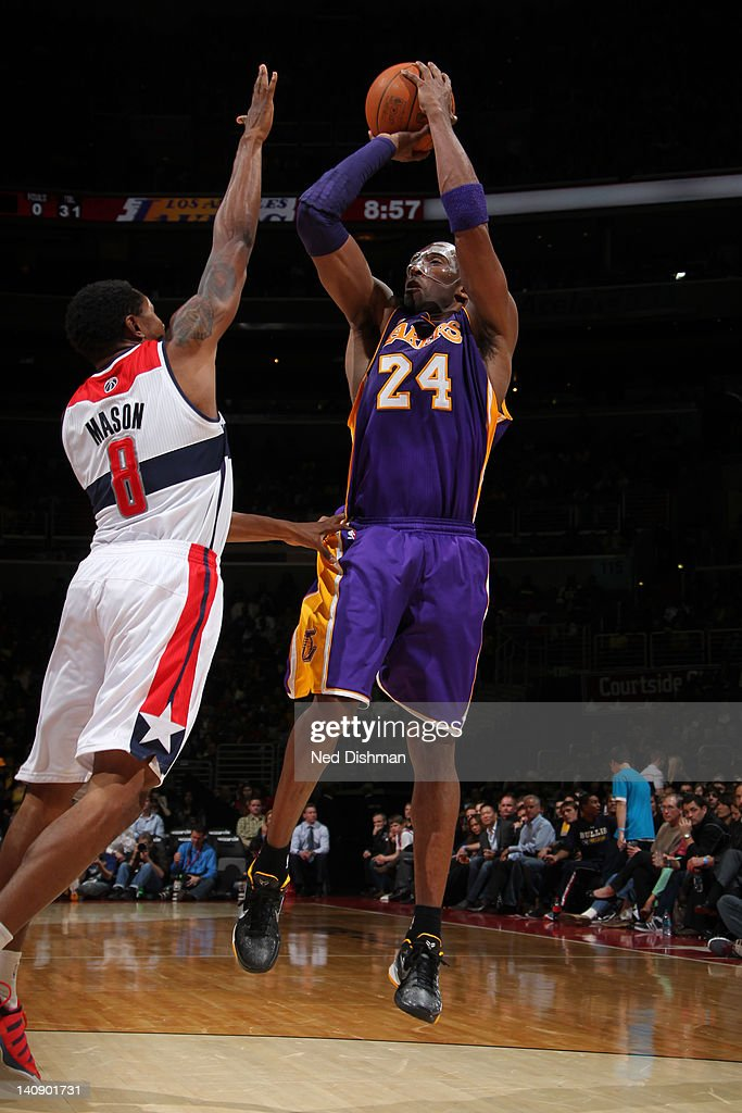 <a gi-track='captionPersonalityLinkClicked' href=/galleries/search?phrase=Kobe+Bryant&family=editorial&specificpeople=201466 ng-click='$event.stopPropagation()'>Kobe Bryant</a> #24 of the Los Angeles Lakers shoots against <a gi-track='captionPersonalityLinkClicked' href=/galleries/search?phrase=Roger+Mason+Jr.&family=editorial&specificpeople=220399 ng-click='$event.stopPropagation()'>Roger Mason Jr.</a> #8 of the Washington Wizards during the game at the Verizon Center on March 7, 2012 in Washington, DC.