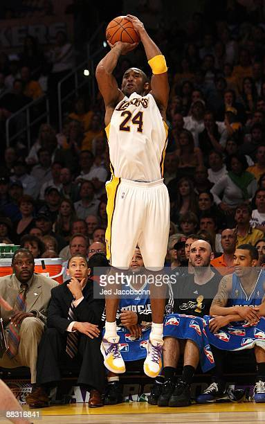 Kobe Bryant of the Los Angeles Lakers shoots against the Orlando Magic in Game Two of the 2009 NBA Finals at Staples Center on June 7 2009 in Los...