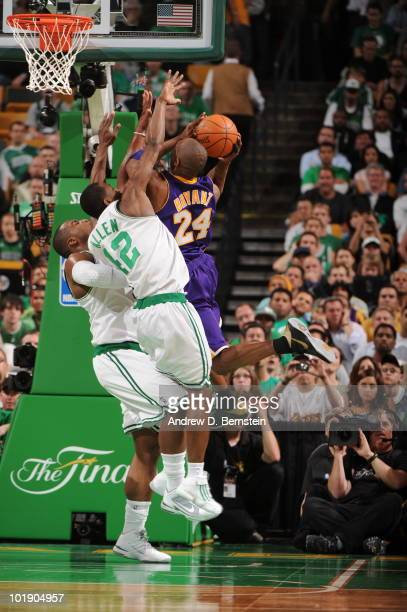 Kobe Bryant of the Los Angeles Lakers shoots against Tony Allen and Glen Davis of the Boston Celtics in Game Three of the 2010 NBA Finals on June 8...