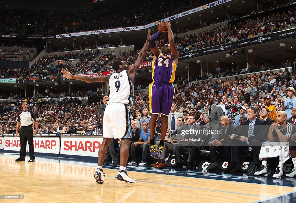 <a gi-track='captionPersonalityLinkClicked' href=/galleries/search?phrase=Kobe+Bryant&family=editorial&specificpeople=201466 ng-click='$event.stopPropagation()'>Kobe Bryant</a> #24 of the Los Angeles Lakers shoots against <a gi-track='captionPersonalityLinkClicked' href=/galleries/search?phrase=Tony+Allen+-+Basketball+Player&family=editorial&specificpeople=201665 ng-click='$event.stopPropagation()'>Tony Allen</a> #9 of the Memphis Grizzlies on November 23, 2012 at FedExForum in Memphis, Tennessee.