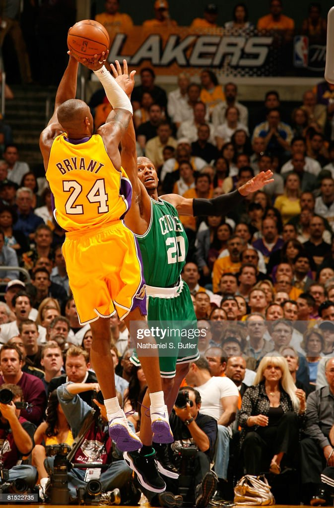 Kobe Bryant of the Los Angeles Lakers shoots over Ray Allen of the Boston Celtics in Game Three of the 2008 NBA Finals on June 10 2008 at Staples...