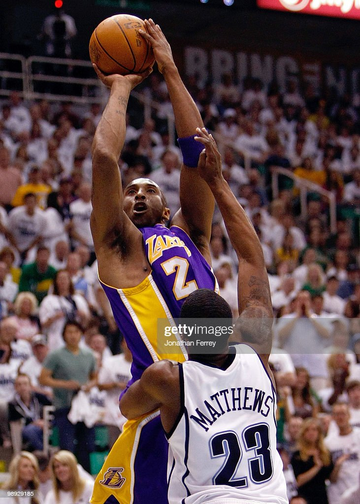 Kobe Bryant #24 of the Los Angeles Lakers shoots over Wesley Matthews #23 of the Utah Jazz during Game Three of the Western Conference Semifinals of the 2010 NBA Playoffs on May 8, 2010 at Energy Solutions Arena in Salt Lake City, Utah.